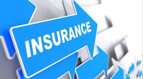 Insurance sign in an arrow pointing forward