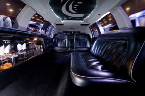 Inside of a limousine