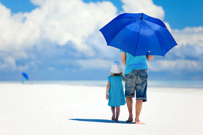 dad and daughter with umbrella