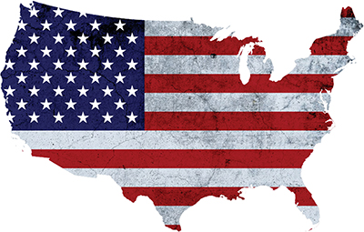 map of the USA colored in with the red white and blue of the flag.